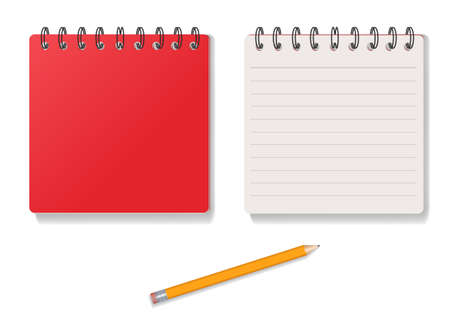 notebook red cover and pencil art vector illustration 向量圖像