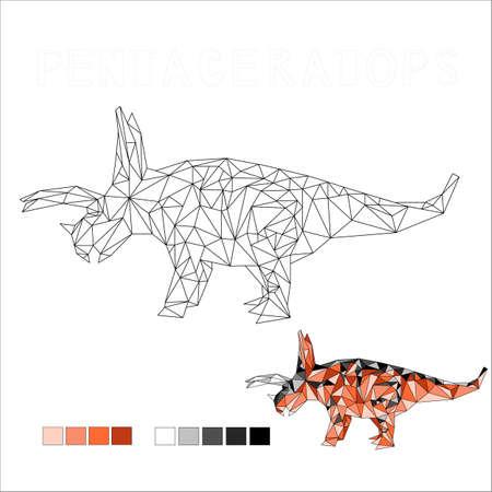 pentaceratops dinosaur coloring vector art illustration 向量圖像