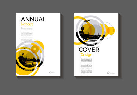 cover Circle modern design abstract background Yellow book cover Brochure  template,annual report, magazine and flyer layout Vector a4 向量圖像