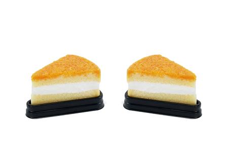twain: Foy Thong Chiffon cake isolated on white background twain