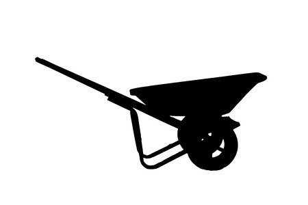 carretilla: Wheelbarrow, Silhouette a Wheelbarrow on white background Foto de archivo