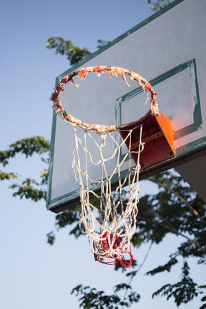 dilapidated: The basketball hoop dilapidated need of repair.