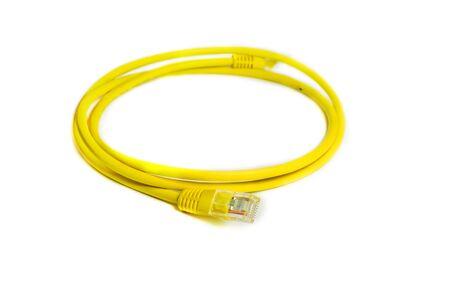rj 45: LAN network connection Ethernet RJ-45 cable yellow color.