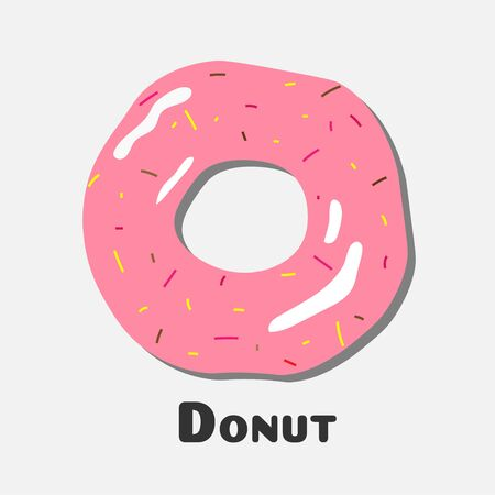 glaze: Donut with pink icing, Donut icon vector Stock Photo