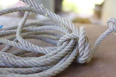 Rope on iron background with soft light.