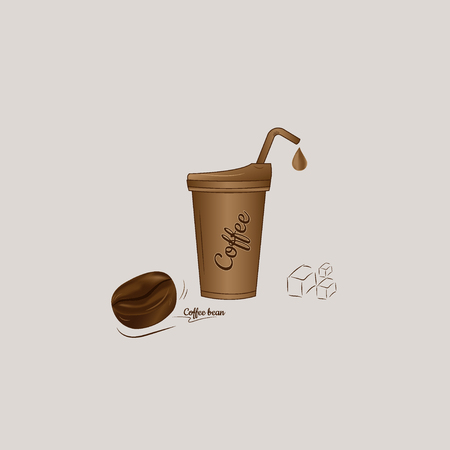 Iced coffee with bean icon vector design.