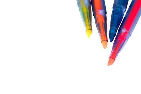 Marker pen set on isolated background. Vivid highlighter and blank space for your design.