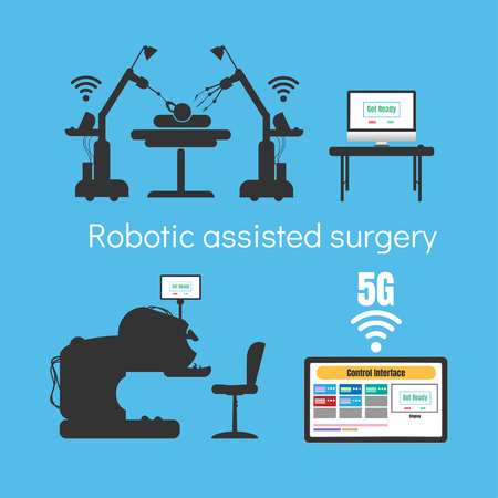 Robotic assisted surgery, 5G internet high speed concept Stock Photo