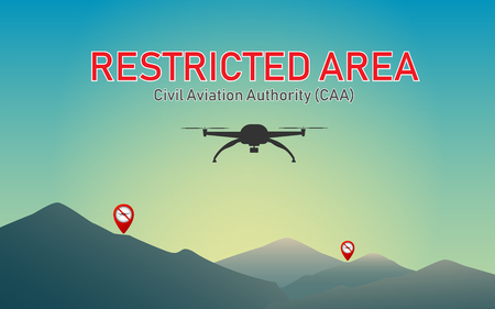 Do not use drones to fly into restricted areas. Ilustração