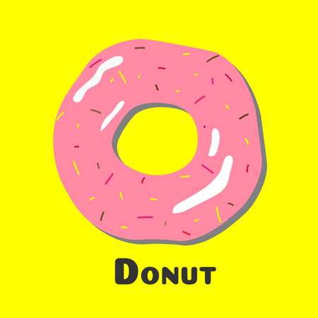 Donut with yellow background, Donut icon vector.