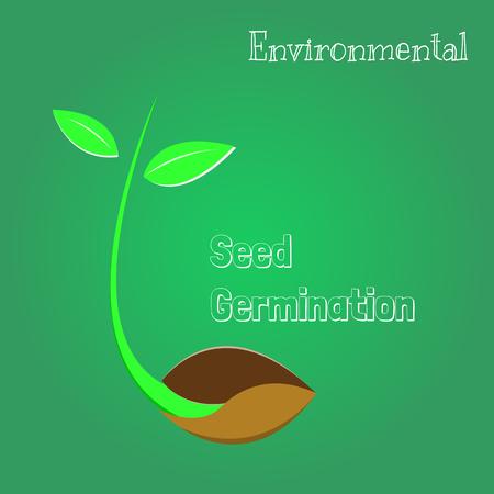 Seeds are germinating, environmental symbol. Illustration