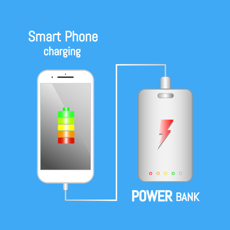 Smart phone charging with power bank.