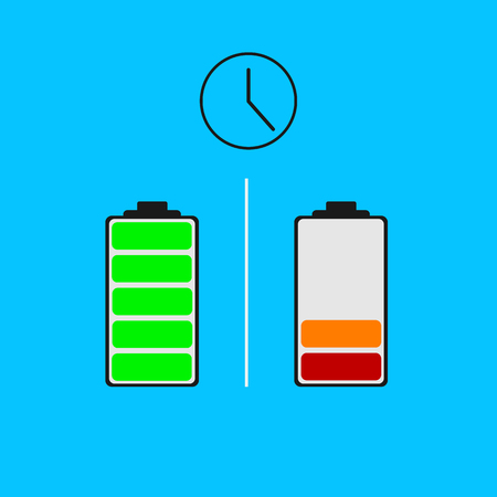 Battery different power status. Ilustrace