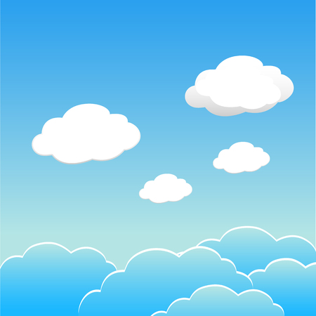 Blue sky with clouds of the day. Vector EPS 10.