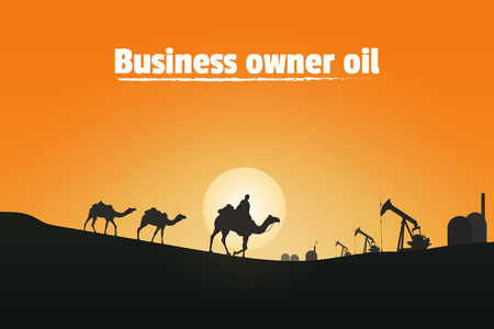 Business owner oil, Silhouette of camel riders in the desert
