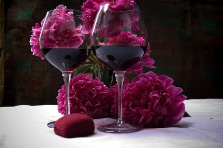 redwine: the wine and peonies