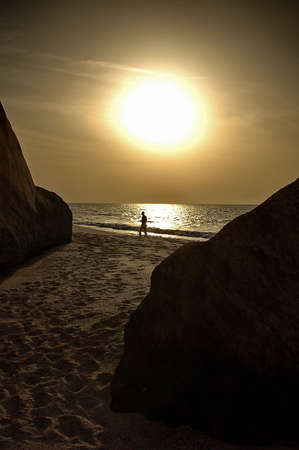 Oman: Siluette on Oman beach Stock Photo
