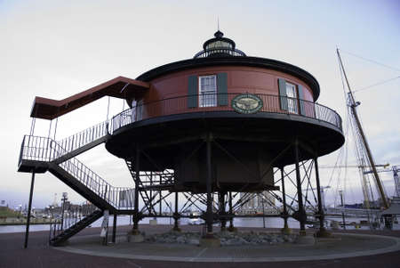 surviving: Seven Foot Knoll Lighthouse, the oldest surviving screw-pile lighthouse built as an aid to navigation on the Chesapeake Bay.� The lighthouse was built in 1856 at the mouth of the Patapsco River, where it marked the shoal known as Seven Foot Knoll for 133