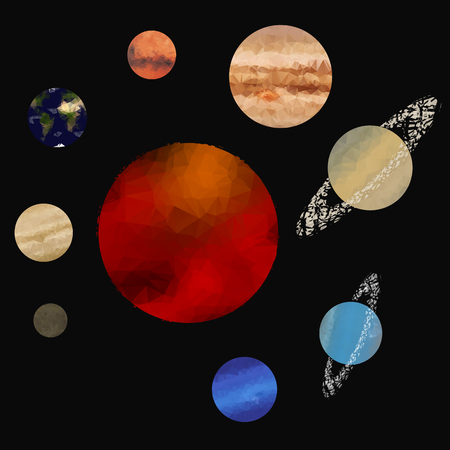 schematically: Low poly solar system