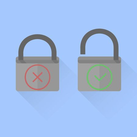 cross mark: opened and closed lock with check and cross mark