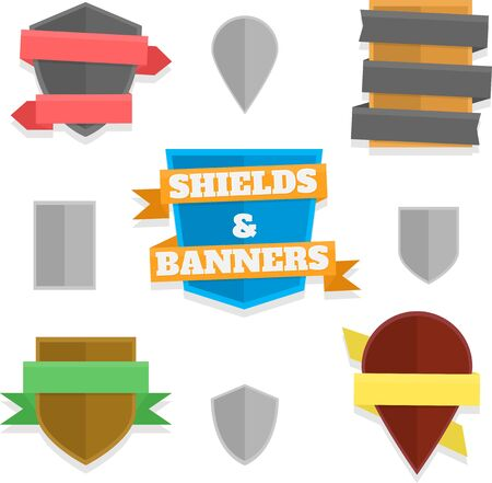 shield: Five variations of shields with banners