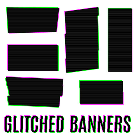 displacement: Set of six glitched banners of different shapes Illustration
