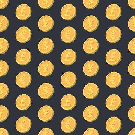 yen sign: Seamless pattern. Falling coins in four variations pound, euro, dollar, yen.