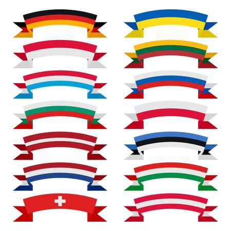world flag: Flags of the countries. Flat ribbons. Europe