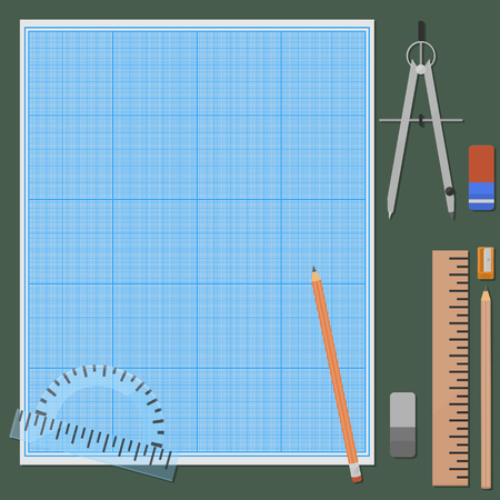 office background: Seven things for mechanical drawing. Erasers and pencils in two variations, ruler, protractor, compasses, pencil sharpener, graph paper, plotting paper.