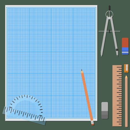 hoja cuadriculada: Siete cosas para dibujo mec�nico. Gomas de borrar y l�pices en dos variaciones, regla, transportador, br�julas, sacapuntas, papel cuadriculado, trazando papel.