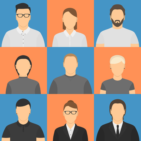 young one: Nine human avatars. Five male, four female. Four office workers, four young, one with beard