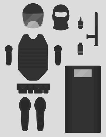 bulletproof vest: Twelve objects of police gear. Two variations of smoke grenades. Knees, elbow right and left. Baton, shield, mask, helmet, suitcases, bulletproof vest. Illustration