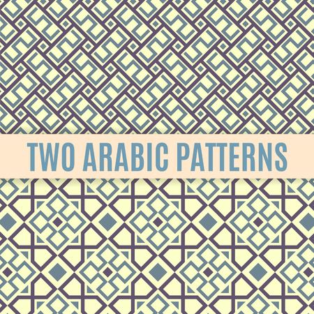 islamic pattern: Two arabic seamless patterns. Abstract background. Geometric