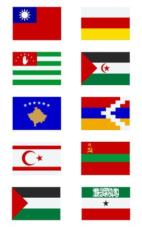 unrecognized: Ten flags of limited recognition states. Unrecognized state
