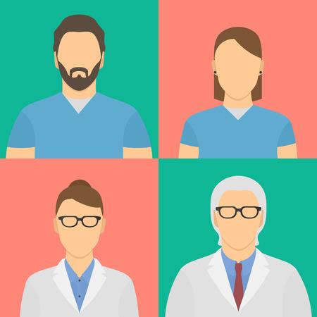 medico caricatura: Cuatro trabajadores médicos avatares. Dos macho, dos hembras.