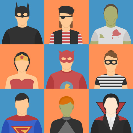 male female: Nine halloween avatars. Five male, four female. Halloween costumes. Superheroes, zombie, witch, pirate, thief, vampire.