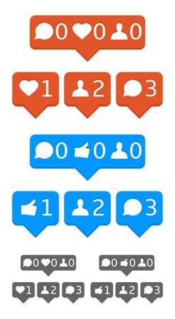 알림: Like, follower, comment, heart notification icons. Vector, eps10, template. 일러스트