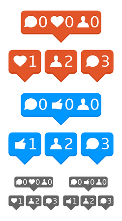 Like, follower, comment, heart notification icons. Vector, eps10, template. Illustration