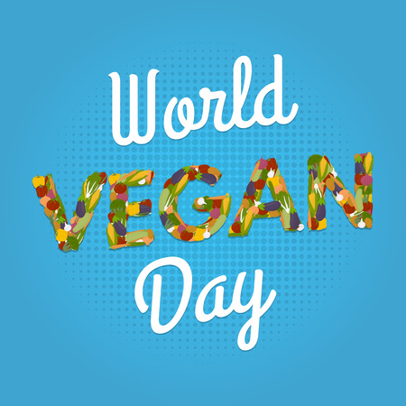 World Vegan Day poster. Vegetables font. 1 november. 矢量图像
