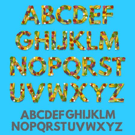 veggies: Vegetables font, veggies abc. Alphabet, letters. Vector, eps10 Illustration