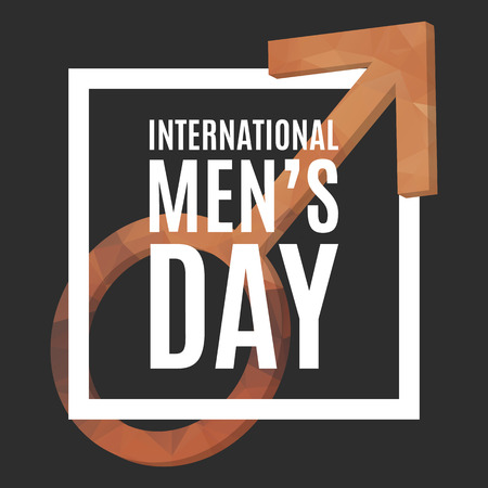father s day: International Men Day poster. Mars symbol with low poly texture, 3d. Gender symbol. Illustration