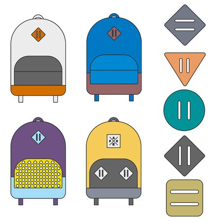 lash: Four flat colorful backpacks and five lash tabs. Lines, cartoon.