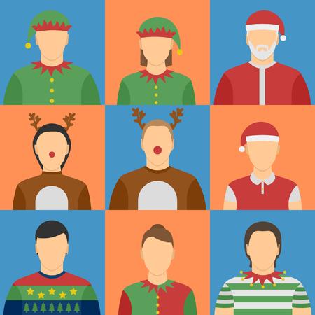 duendes de navidad: Avatares de Navidad. Duendes, renos, disfraces. Cinco varón, hembra de cuatro. Vectores