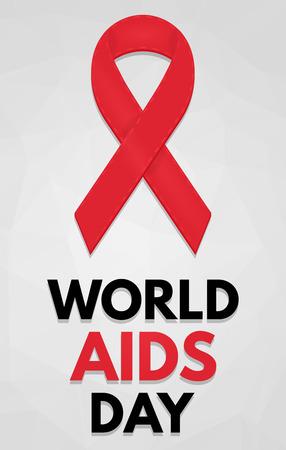 relaciones sexuales: Cartel del D�a Mundial del SIDA. Insignia detallada. List�n rojo. Bajo poli, geom�trico. eps10