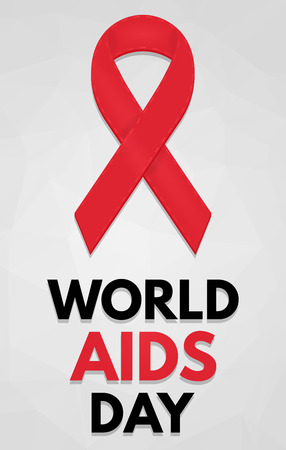 sexual health: World AIDS Day poster. Detailed badge. Red ribbon. Low poly, geometric. eps10