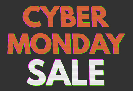 displacement: Cyber monday background. Gltiched, retro. vector, eps10 Illustration