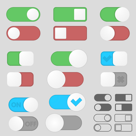 toggle switch: Toggle switch button off on pack. Interface. Different variations