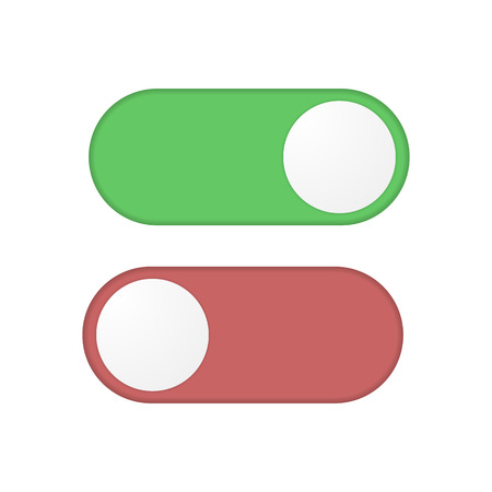 Toggle switch button in off, on variations Illustration