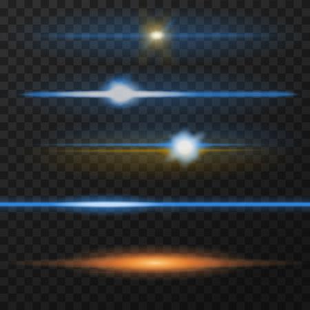 Horizontal lens flares pack. Horizontal light rays. Vector, eps10. Blue and orange