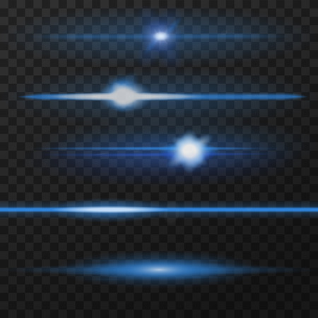 Blue horizontal lens flares pack. Horizontal light rays. Vector, eps10.